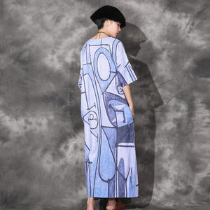 Unique side open linen Long Shirts Catwalk blue prints Dresses o neck sundress