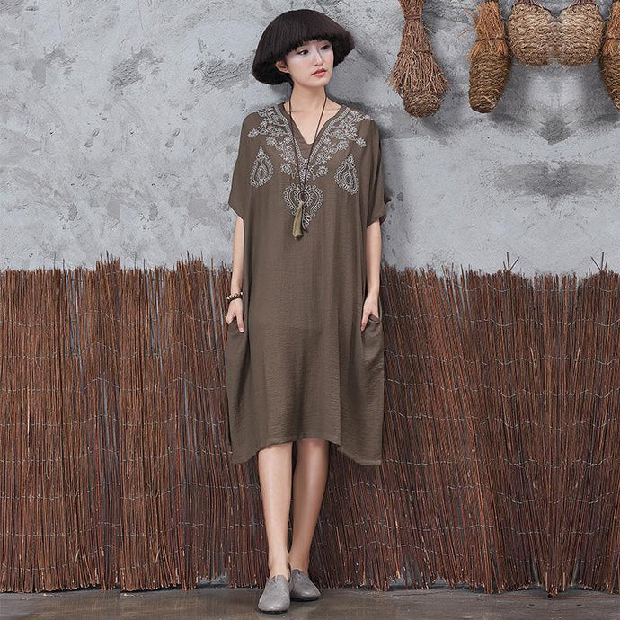 Unique side open linen Robes Wardrobes dark khaki  Dress embroidery summer