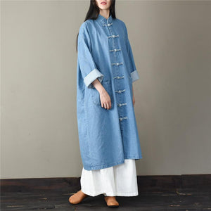 Unique stand collar Fashion spring tunic pattern light blue short coat