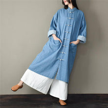Load image into Gallery viewer, Unique stand collar Fashion spring tunic pattern light blue short coat