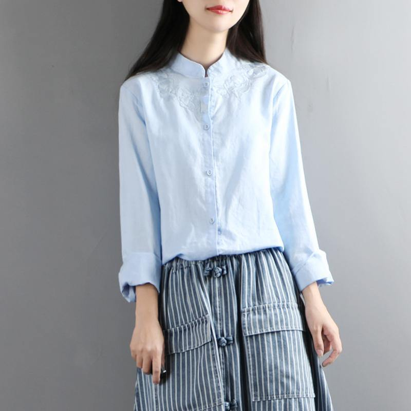 Unique stand collar cotton clothes For Women light blue embroidery shirt