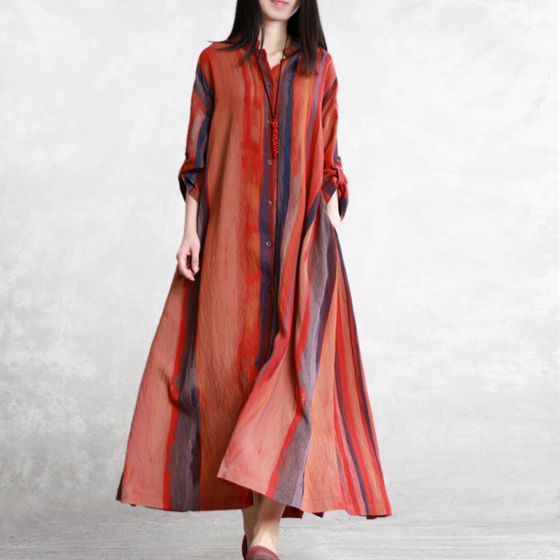 Unique stand collar linen clothes Fine Shape orange striped long coat