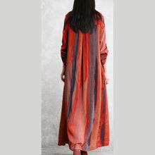 Laden Sie das Bild in den Galerie-Viewer, Unique stand collar linen clothes Fine Shape orange striped long coat