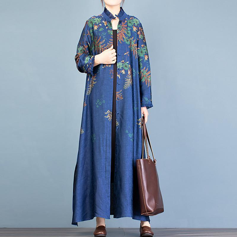 Unique stand collar side open Fashion trench coat blue print loose women cardigan