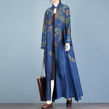 Load image into Gallery viewer, Unique stand collar side open Fashion trench coat blue print loose women cardigan