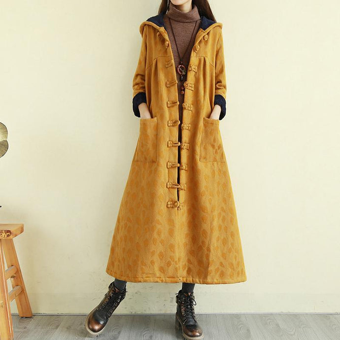 Unique thick top quality hooded coats women yellow Midi jackets
