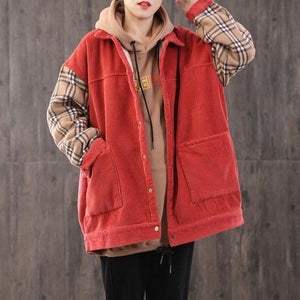 Unique two big pockets cotton patchwork clothes Christmas Gifts red shirt