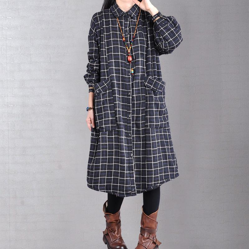 Unique two pockets top quality lapel collar coats women black plaid baggy coats