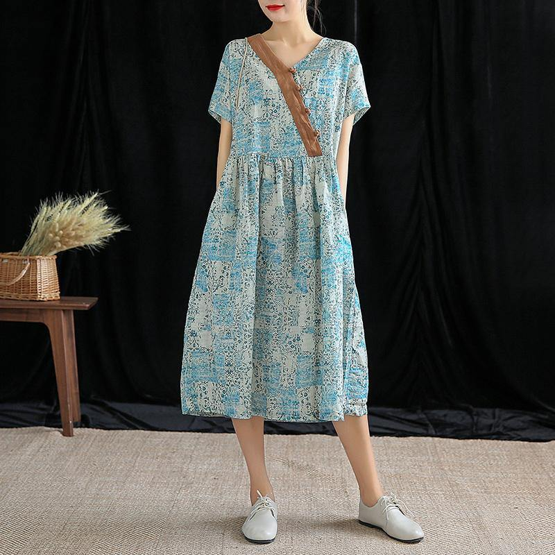 Unique v neck wrinkled linen clothes Inspiration beige print Dresses