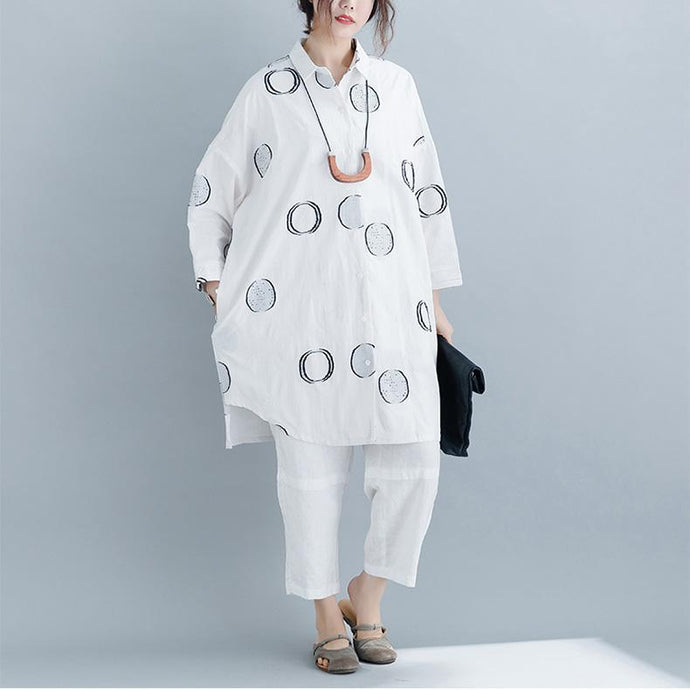 Unique white dotted linen tops women blouses Omychic Online Shopping short Turn-down Collar shirt