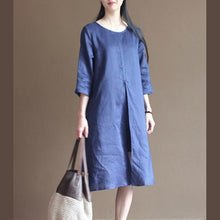 Load image into Gallery viewer, Unique Blue half sleeve linen sundress casual shift dresses