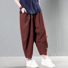 Load image into Gallery viewer, Unique brown linen pants spring harem pants summer trousers