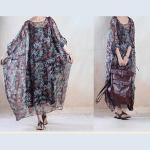 Load image into Gallery viewer, Unique design chiffon floral maxi dress long summer dress holiday sundress floor length