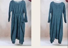 Load image into Gallery viewer, Unique drapping green linen dress maxi spring gown