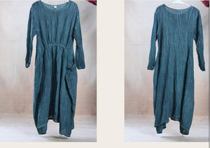 Unique drapping green linen dress maxi spring gown