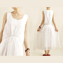 Load image into Gallery viewer, Unique white linen sundress sleeveless cotton summer long maxi dress