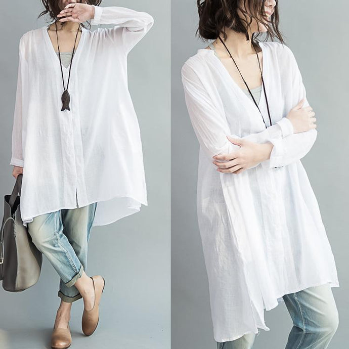 V neck oversize white cotton blouses tunic cotton dresses
