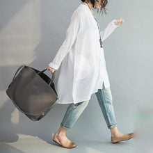 Load image into Gallery viewer, V neck oversize white cotton blouses tunic cotton dresses