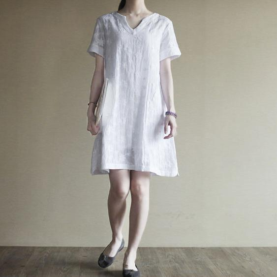 V neck white Cotton sundress plus size summer shift dress