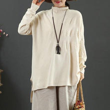 Load image into Gallery viewer, Vintage beige knit blouse low high design casual high neck knit sweat tops