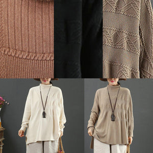 Vintage beige knit blouse low high design casual high neck knit sweat tops