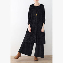 Load image into Gallery viewer, Vintage black corduroy plus size pockets tops corduroy wide leg pants