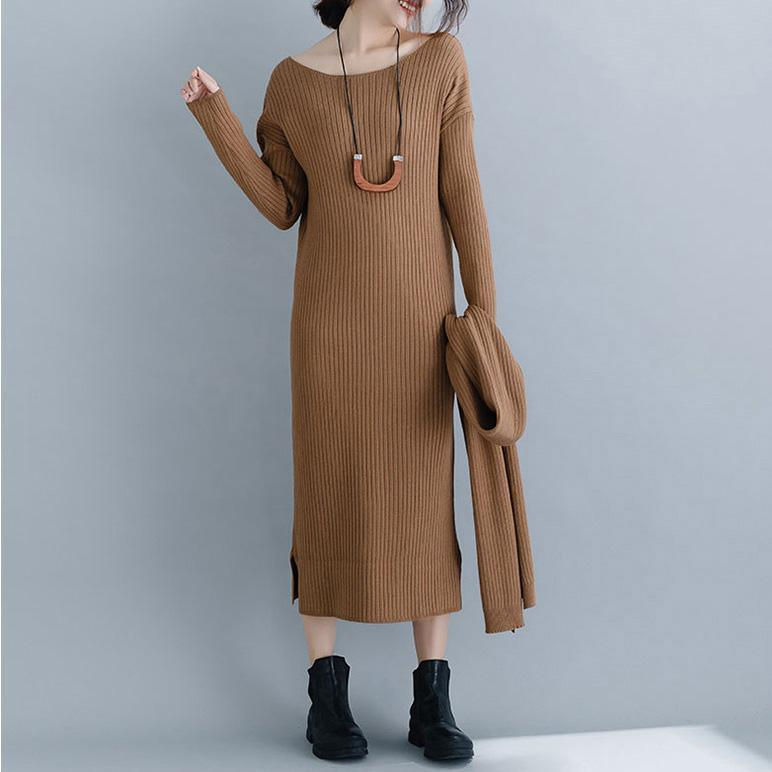 Vintage brown Sweater Wardrobes Beautiful Ugly o neck slim knit dress
