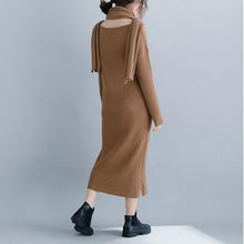 Load image into Gallery viewer, Vintage brown Sweater Wardrobes Beautiful Ugly o neck slim knit dress
