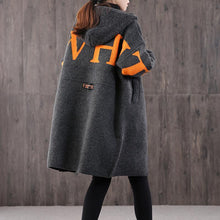 Load image into Gallery viewer, Vintage dark gray casual knit sweat tops hooded zippered coat
