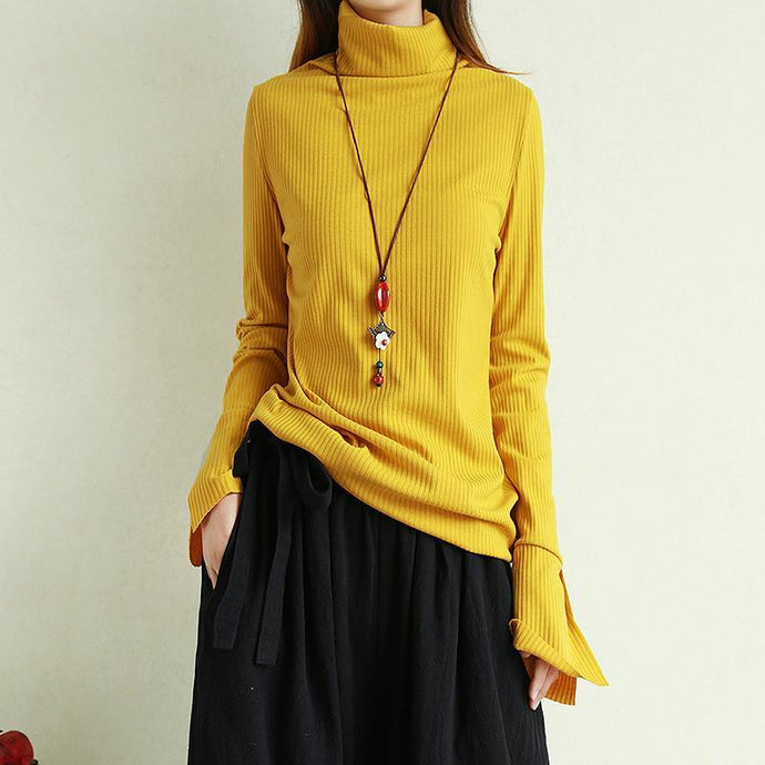 Vintage yellow crane tops oversize winter knit sweat tops high neck