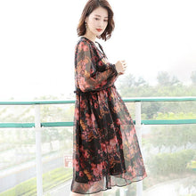 Load image into Gallery viewer, Vintage Chiffon Loose Floral Hollow Women Midi Dress