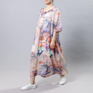 Vintage Print Floral Round Neck Short Sleeve Dress