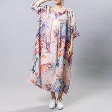 Load image into Gallery viewer, Vintage Print Floral Round Neck Short Sleeve Dress