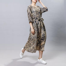 Load image into Gallery viewer, Vintage Ramie Print Drawstring Round Neck Dress