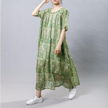 Load image into Gallery viewer, Vintage Ramie Round Neck Short Sleeve Dress