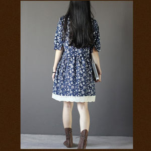 Vintage blue floral summer dress loose fitting knee dresses