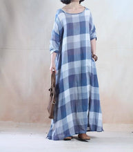 Load image into Gallery viewer, Vintage blue grid long linen maxi dress spring dresses caftan floor length