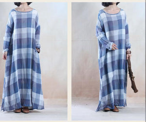 Vintage blue grid long linen maxi dress spring dresses caftan floor length
