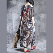 Load image into Gallery viewer, Vintage floral linen dresses long linen maxi dress caftans oversize