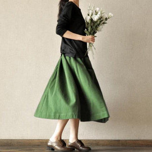Vintage green big pockets linen skirts high quality stylish loose fitting skirt