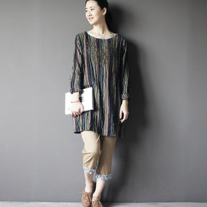 Vintage oversize embroideried shift dress cotton shirt