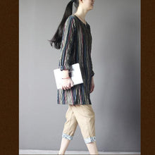 Load image into Gallery viewer, Vintage oversize embroideried shift dress cotton shirt