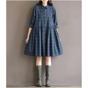 Vintage plaid blue cotton dress nutural cotton fit flare dress casual shirt half sleeve