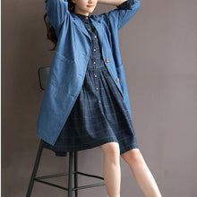 Laden Sie das Bild in den Galerie-Viewer, Vintage plaid blue cotton dress nutural cotton fit flare dress casual shirt half sleeve