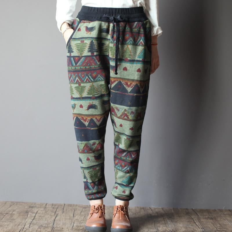 Vintage print women winter pants velour trousers capris