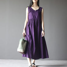 Load image into Gallery viewer, Violet linen sundress sleeveless summer dress plus size maxi dresses