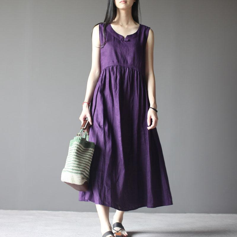 Violet linen sundress sleeveless summer dress plus size maxi dresses