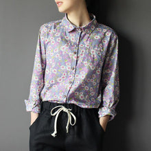 Load image into Gallery viewer, Violet women Retro cotton floral blouse shirt top