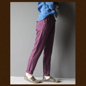 Violet women linen trousers pants