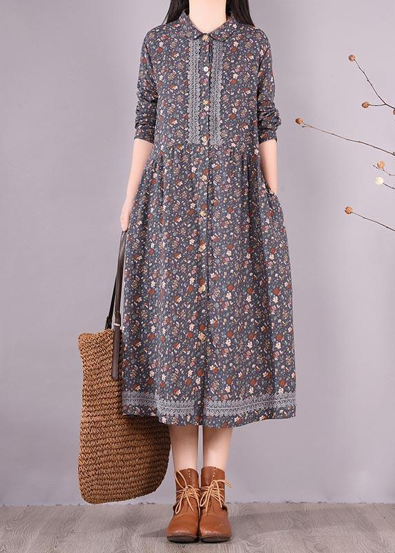 Vivid Blue Print Clothes Lapel Lace Robe Spring Dress